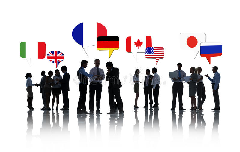 Διεθνής ομιλία επιχειρηματιών στοκ εικόνες
