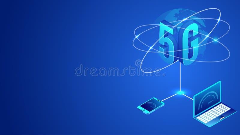 Διεθνής παγκόσμια έννοια υπηρεσιών δικτύων Ίντερνετ στοιχείων 5G, που χρησιμοποιεί τη σύνδεση υπηρεσίας δεδομένων Διαδικτύου του  ελεύθερη απεικόνιση δικαιώματος
