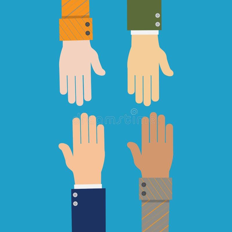 διεθνής συνεργασία εικονίδιο Έννοια χειραψιών επιχειρηματιών διανυσματική απεικόνιση