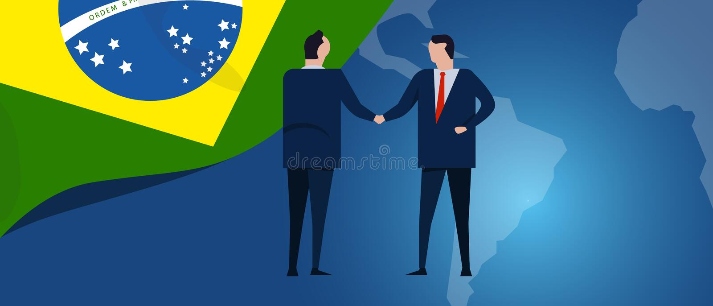 Διεθνής συνεργασία της Βραζιλίας Διαπραγμάτευση διπλωματίας Χειραψία συμφωνίας επιχειρησιακής σχέσης Σημαία και χάρτης χώρας διανυσματική απεικόνιση