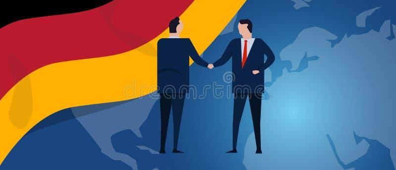 Διεθνής συνεργασία της Γερμανίας Διαπραγμάτευση διπλωματίας Χειραψία συμφωνίας επιχειρησιακής σχέσης Σημαία χώρας και απεικόνιση αποθεμάτων