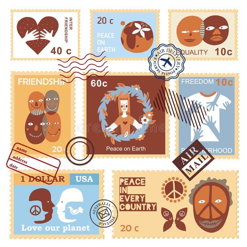 Διεθνή γραμματόσημα συμβόλων φιλίας διανυσματική απεικόνιση