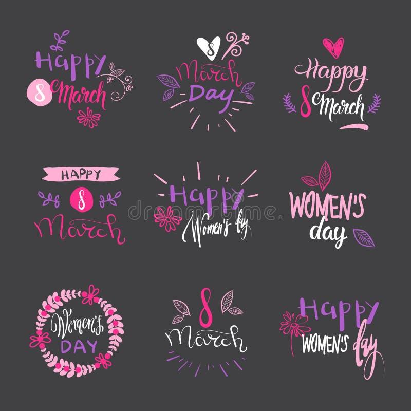 Διεθνή διακριτικά ημέρας γυναικών στο γκρίζο σύνολο υποβάθρου συρμένης χέρι καλλιγραφίας εγγραφής για την 8η Μαρτίου διανυσματική απεικόνιση
