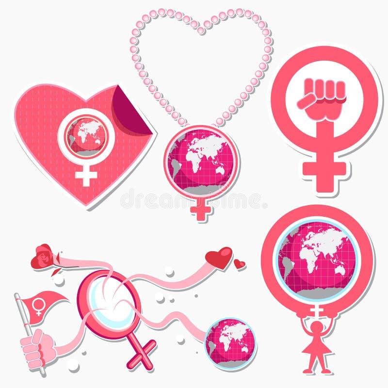 Διεθνή σύμβολο και εικονίδιο ημέρας γυναικών απεικόνιση αποθεμάτων