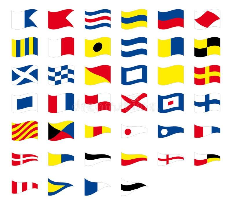 Διεθνείς θαλάσσιες ναυτικές κυματίζοντας σημαίες σημάτων, που απομονώνονται στο άσπρο υπόβαθρο διανυσματική απεικόνιση