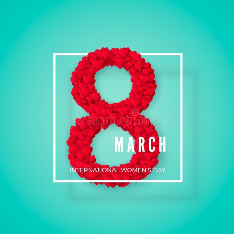 διεθνείς κόκκινες λευκές γυναίκες γραμματοσήμων ημέρας ανασκόπησης 8 Μαρτίου χαιρετώντας κάρτα Έννοια εμβλημάτων ιστοχώρου επίσης απεικόνιση αποθεμάτων