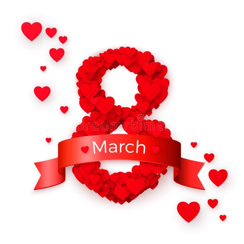 διεθνείς κόκκινες λευκές γυναίκες γραμματοσήμων ημέρας ανασκόπησης Marh 8 χαιρετώντας κάρτα Έννοια εμβλημάτων ιστοχώρου επίσης co απεικόνιση αποθεμάτων