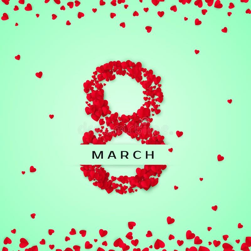 διεθνείς κόκκινες λευκές γυναίκες γραμματοσήμων ημέρας ανασκόπησης 8 Μαρτίου χαιρετώντας κάρτα Οκτώ αποτελούνται από τις καρδιές  ελεύθερη απεικόνιση δικαιώματος
