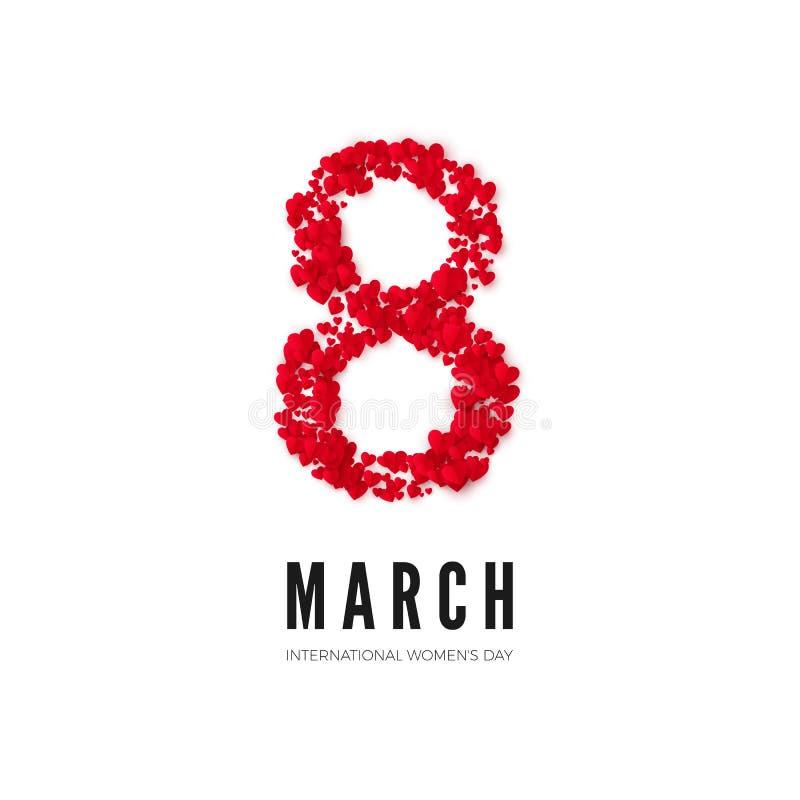 διεθνείς κόκκινες λευκές γυναίκες γραμματοσήμων ημέρας ανασκόπησης 8 Μαρτίου χαιρετώντας κάρτα Οκτώ αποτελούνται από τις καρδιές  διανυσματική απεικόνιση