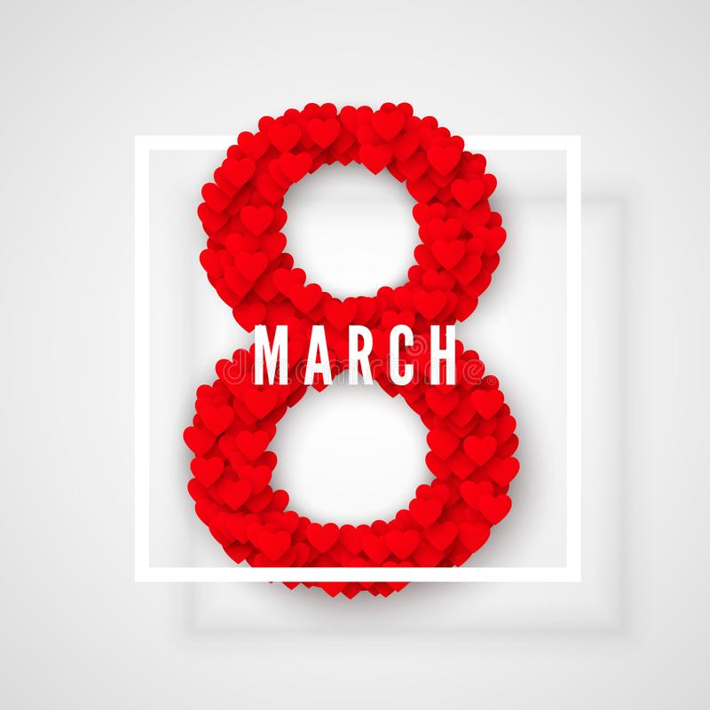 διεθνείς κόκκινες λευκές γυναίκες γραμματοσήμων ημέρας ανασκόπησης 8 Μαρτίου χαιρετώντας κάρτα Έννοια εμβλημάτων ιστοχώρου επίσης διανυσματική απεικόνιση