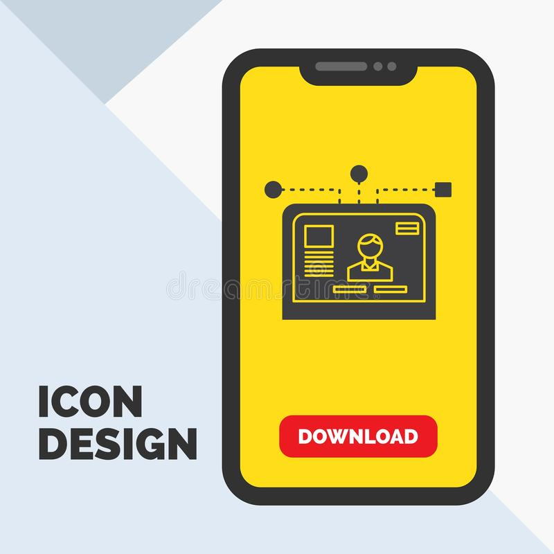 διεπαφή, ιστοχώρος, χρήστης, σχεδιάγραμμα, εικονίδιο Glyph σχεδίου σε κινητό για Download τη σελίδα r ελεύθερη απεικόνιση δικαιώματος
