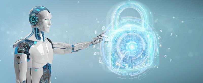Διεπαφή προστασίας ασφάλειας Ιστού που χρησιμοποιείται με την τρισδιάστατη απόδοση ρομπότ διανυσματική απεικόνιση