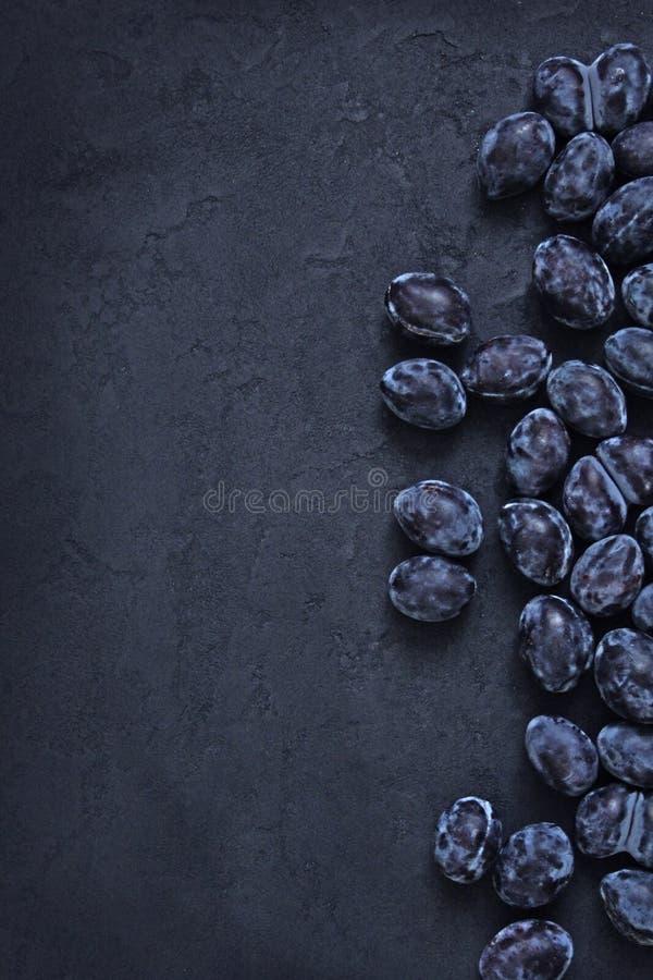 Διεσπαρμένα μπλε δαμάσκηνα σε ένα σκοτεινό υπόβαθρο στοκ φωτογραφίες