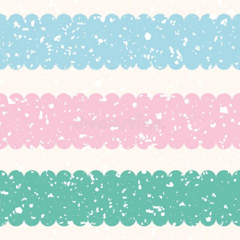Διεσπαρμένες άσπρες μορφές βεράντας με το ροζ κρητιδογραφιών, μπλε, λωρίδες κιρκιριών Άνευ ραφής διανυσματικό σχέδιο στο υπόβαθρο απεικόνιση αποθεμάτων