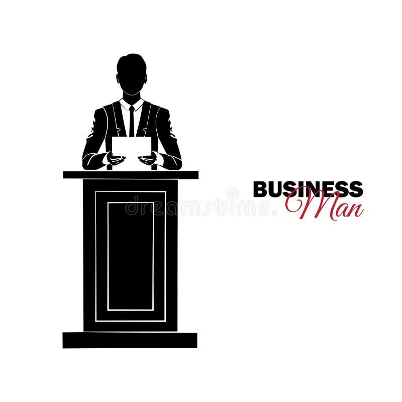 διευθυντής κοστούμι επιχειρησιακών Επιχειρηματίας που διαβάζει την έκθεση σχετικά με την εξέδρα ελεύθερη απεικόνιση δικαιώματος