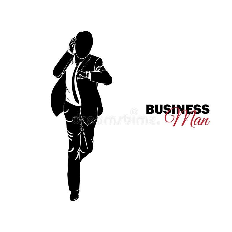 διευθυντής κοστούμι επιχειρησιακών Επιχειρηματίας που τρέχει και που εξετάζει το ρολόι του, αργά ελεύθερη απεικόνιση δικαιώματος