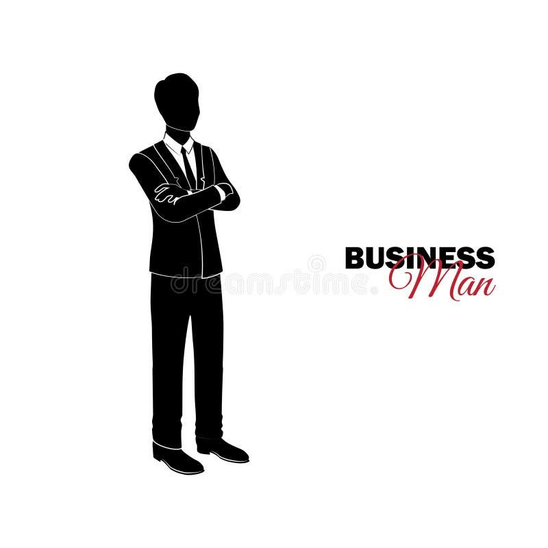 διευθυντής κοστούμι επιχειρησιακών Ο επιχειρηματίας δίπλωσε τα όπλα του πέρα από το στήθος του ελεύθερη απεικόνιση δικαιώματος
