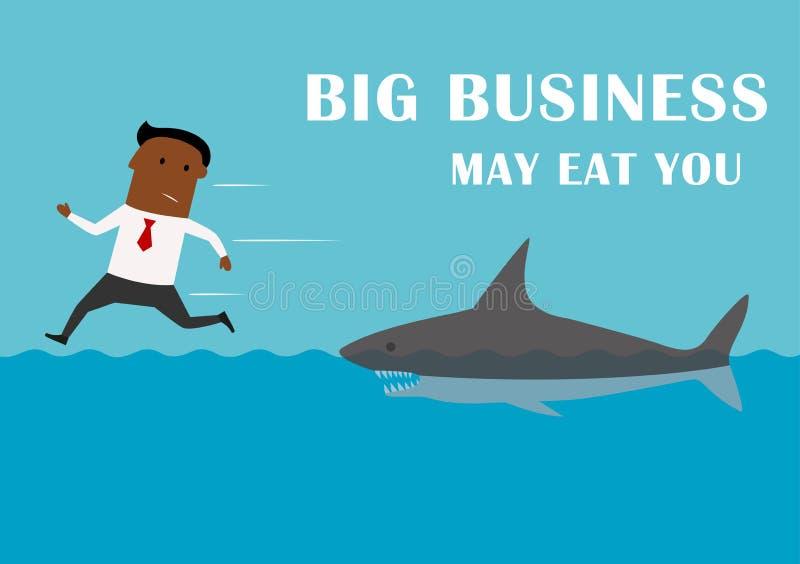 Διευθυντής που τρέχει μακρυά από τον καρχαρία μεγάλης επιχείρησης διανυσματική απεικόνιση