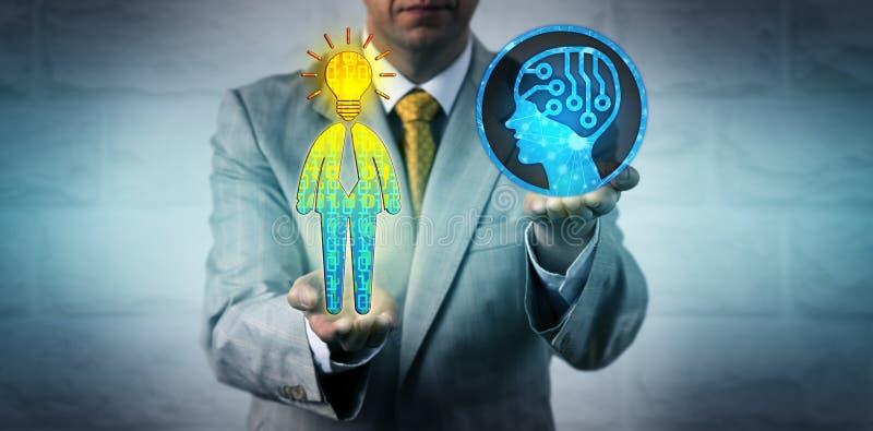 Διευθυντής που χρησιμοποιεί το AI για να επιλέξει τους εγκεφάλους του ταλέντου στοκ εικόνα με δικαίωμα ελεύθερης χρήσης