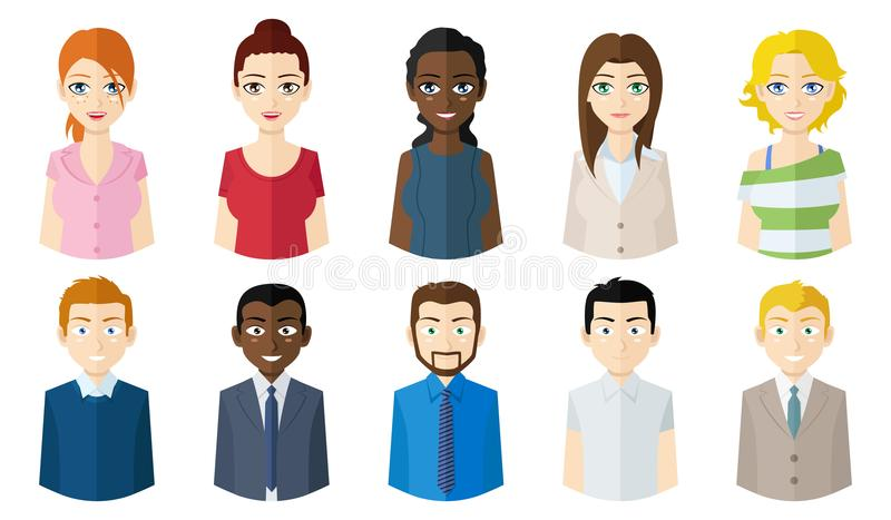 Διευκρινισμένα πορτρέτα ανθρώπων ` s διανυσματική απεικόνιση