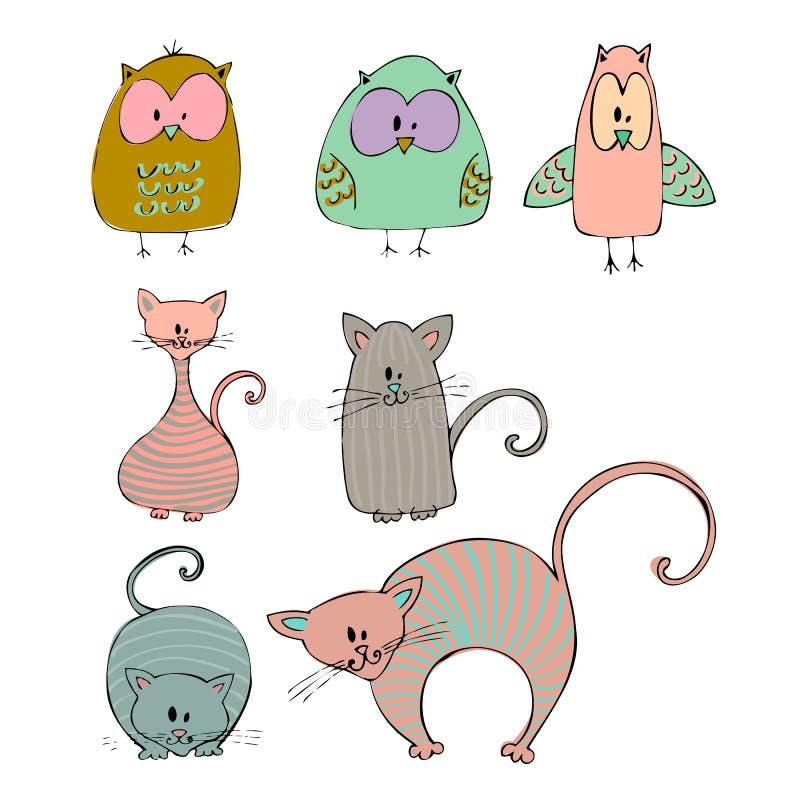 Διευκρινισμένες γάτες και κουκουβάγιες απεικόνιση αποθεμάτων