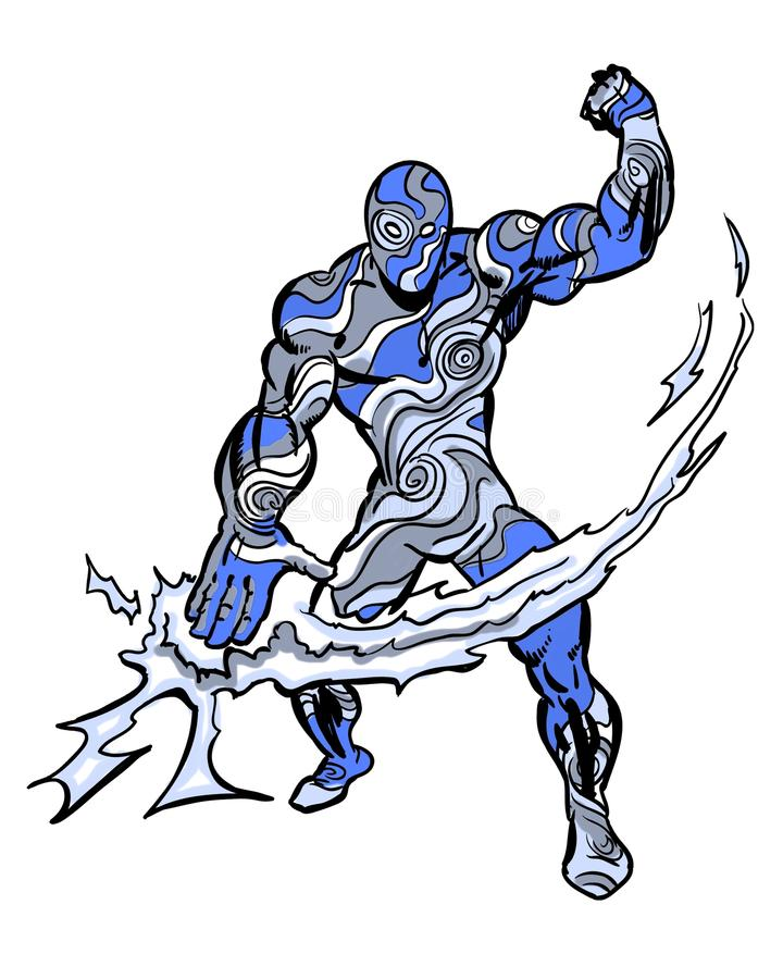 Διευκρινισμένη κόμικς μανία θύελλας χαρακτήρα απεικόνιση αποθεμάτων