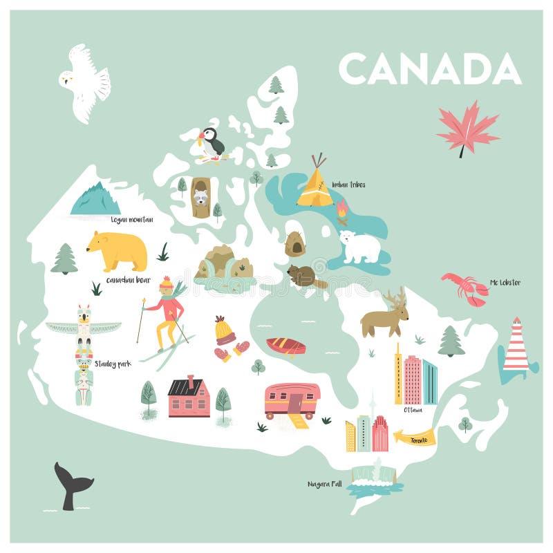 Διευκρινισμένος διάνυσμα χάρτης κινούμενων σχεδίων του Καναδά ελεύθερη απεικόνιση δικαιώματος