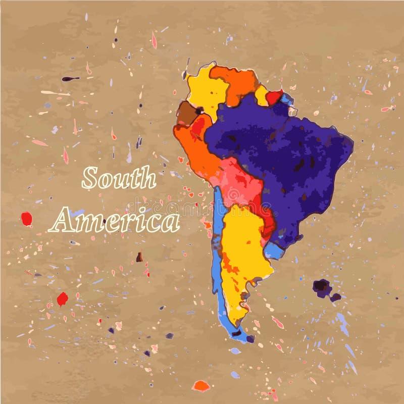 Διευκρινισμένος διάνυσμα χάρτης της Νότιας Αμερικής διανυσματική απεικόνιση