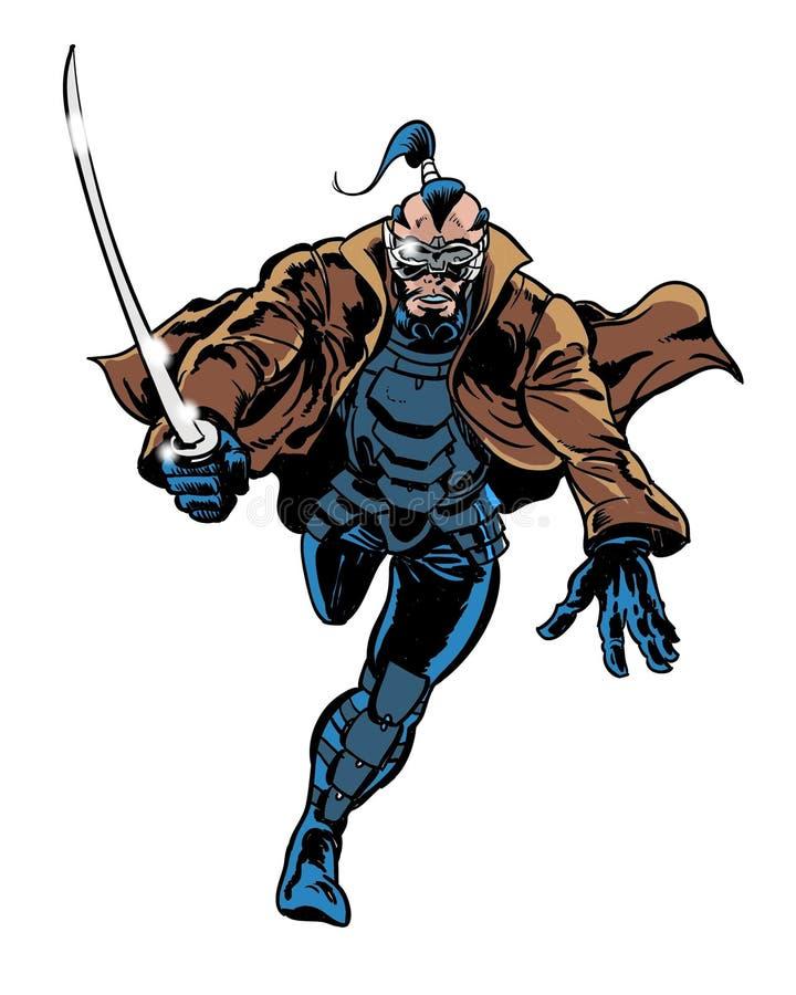 Διευκρινισμένος κόμικς χαρακτήρας Σαμουράι ninja διανυσματική απεικόνιση