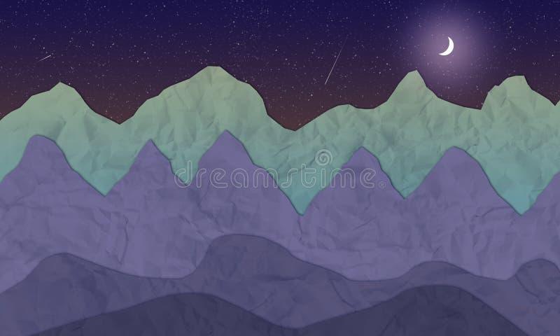 Διευκρινισμένο τοπίο βουνών νύχτας με το φεγγάρι και τα αστέρια ελεύθερη απεικόνιση δικαιώματος