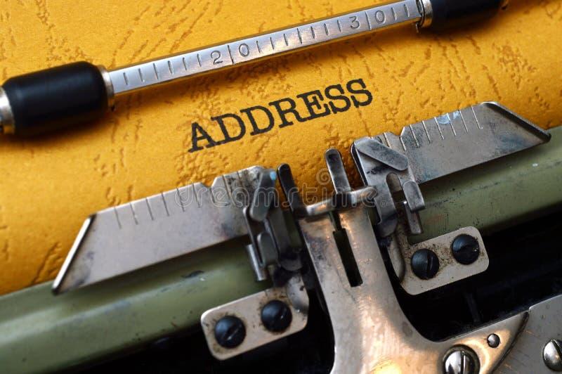 Διεύθυνση στη γραφομηχανή στοκ φωτογραφίες με δικαίωμα ελεύθερης χρήσης