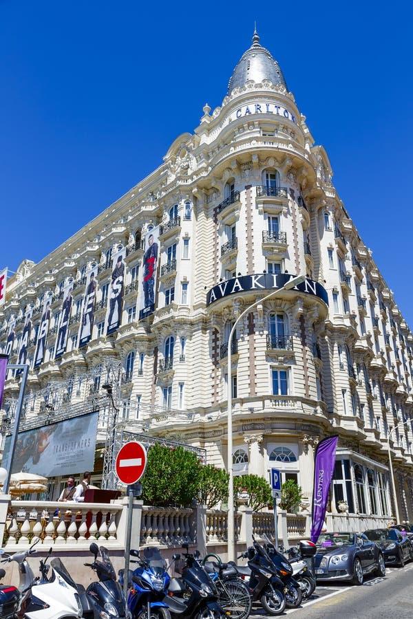 Διηπειρωτικό ξενοδοχείο του Carlton Κάννες στις Κάννες στοκ εικόνα με δικαίωμα ελεύθερης χρήσης
