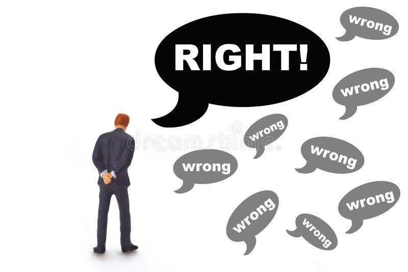 Δικαίωμα έννοιας ή λανθασμένος στοκ εικόνες