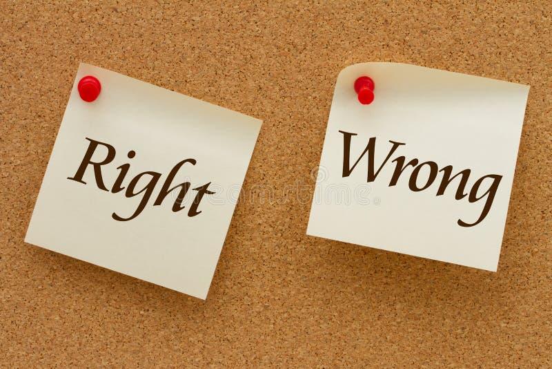 Δικαίωμα εναντίον λανθασμένου στοκ εικόνα με δικαίωμα ελεύθερης χρήσης