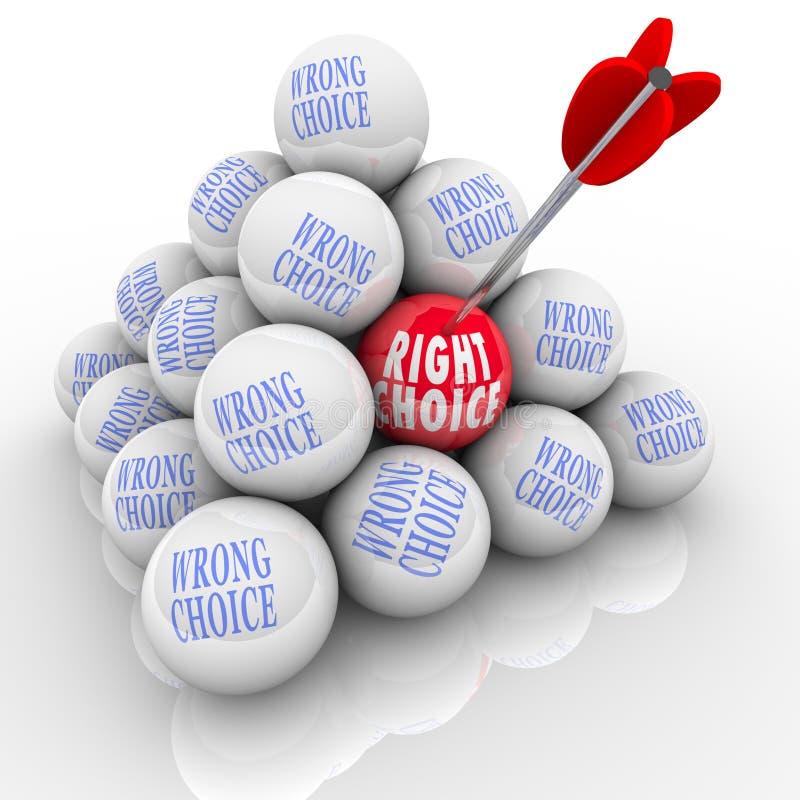 Δικαίωμα εναντίον του λανθασμένου καλύτερου επιλογών βελών επιλογής πολλών επιλογών ελεύθερη απεικόνιση δικαιώματος