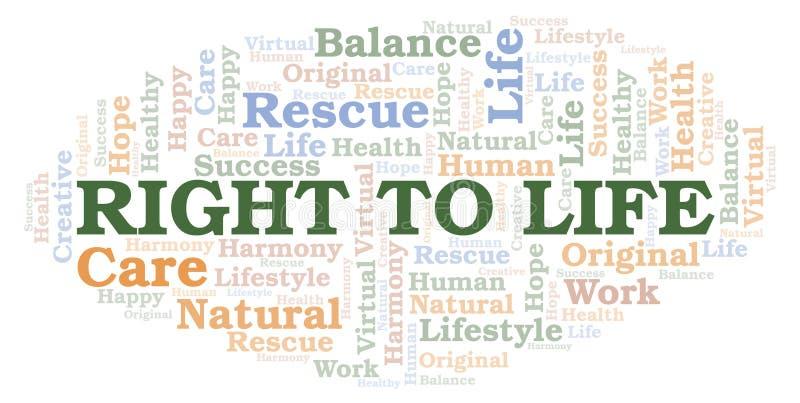 Δικαίωμα στο σύννεφο λέξης ζωής διανυσματική απεικόνιση