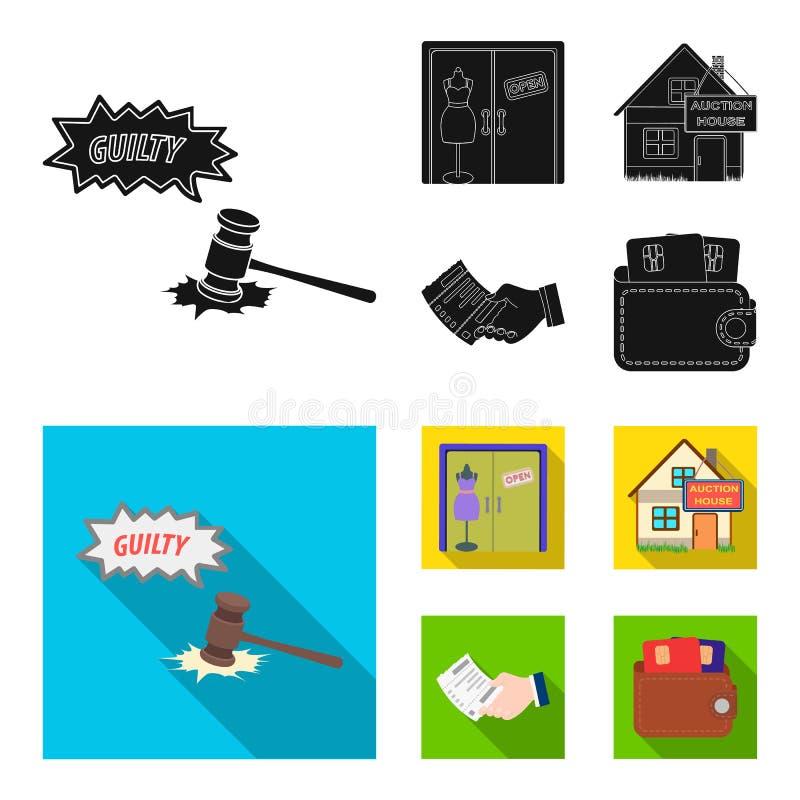 Δικαιοσύνη, γυναίκες clothin και άλλο εικονίδιο Ιστού στο μαύρο, επίπεδο ύφος ο Οίκος Δημοπρασιών, ένας έλεγχος για τα εικονίδια  ελεύθερη απεικόνιση δικαιώματος