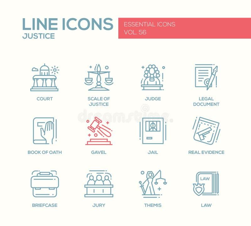 Δικαιοσύνη - εικονίδια σχεδίου γραμμών καθορισμένα διανυσματική απεικόνιση