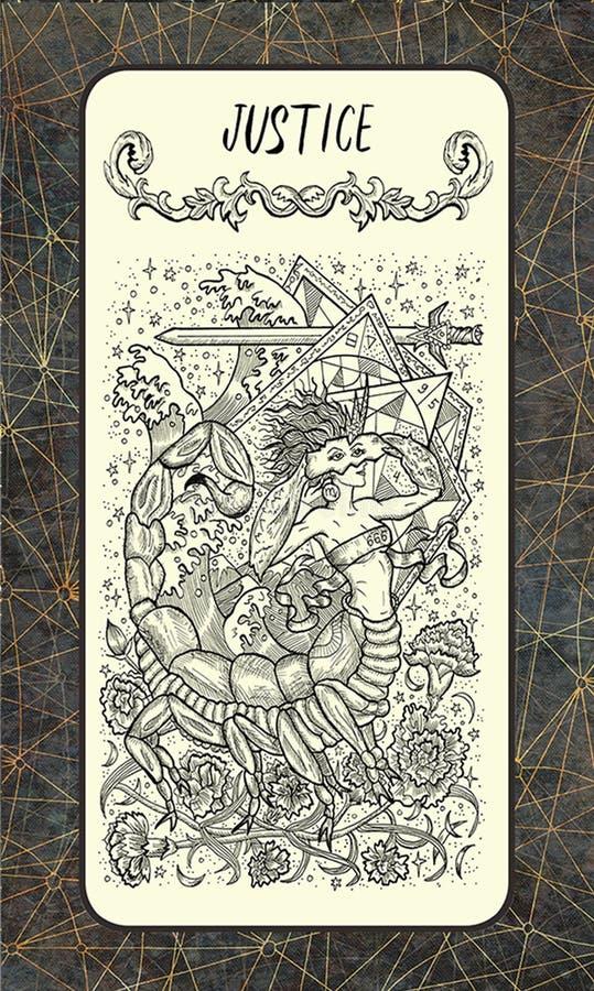 δικαιοσύνη Η μαγική κάρτα πυλών tarot απεικόνιση αποθεμάτων