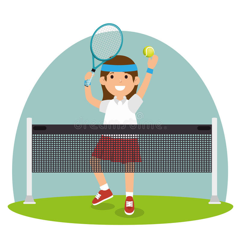 Δικαστήριο άλματος κοριτσιών αντισφαίρισης καθαρό διανυσματική απεικόνιση