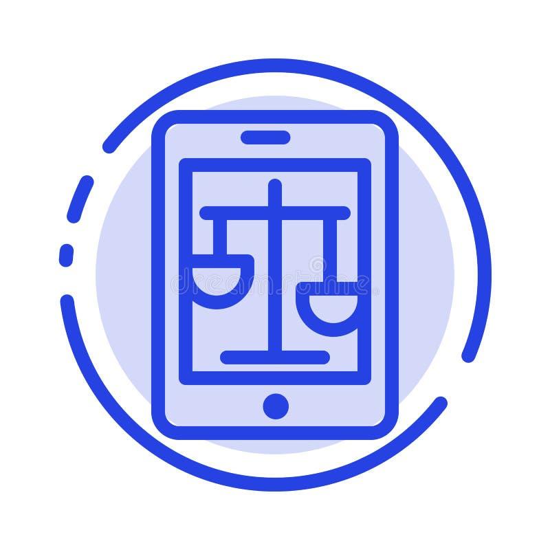 Δικαστήριο, Διαδίκτυο, νομικό, on-line μπλε διαστιγμένων γραμμών γραμμών εικονίδιο νόμου, απεικόνιση αποθεμάτων