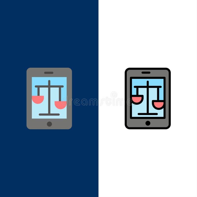 Δικαστήριο, Διαδίκτυο, νόμος, νομικά, σε απευθείας σύνδεση εικονίδια Επίπεδος και γραμμή γέμισε το καθορισμένο διανυσματικό μπλε  ελεύθερη απεικόνιση δικαιώματος