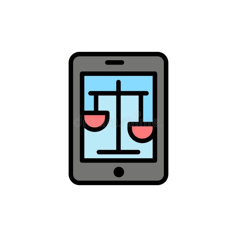 Δικαστήριο, Διαδίκτυο, νόμος, νομικό, σε απευθείας σύνδεση επίπεδο εικονίδιο χρώματος Διανυσματικό πρότυπο εμβλημάτων εικονιδίων απεικόνιση αποθεμάτων