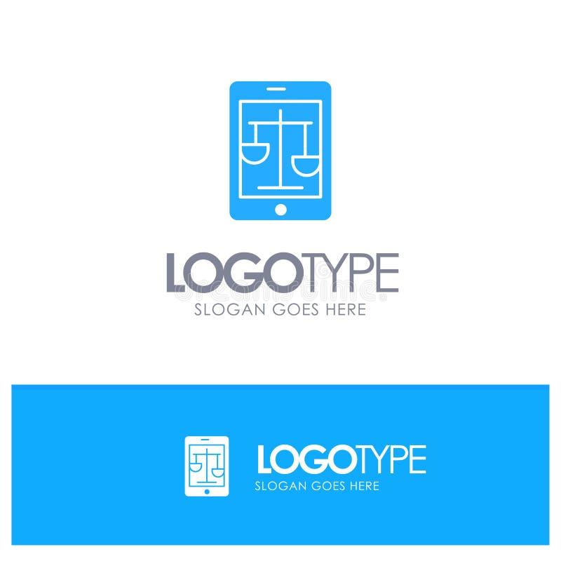 Δικαστήριο, Διαδίκτυο, νόμος, νομικό, σε απευθείας σύνδεση μπλε στερεό λογότυπο με τη θέση για το tagline διανυσματική απεικόνιση