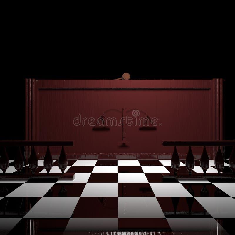Δικαστήριο με gavel δικαστών διανυσματική απεικόνιση