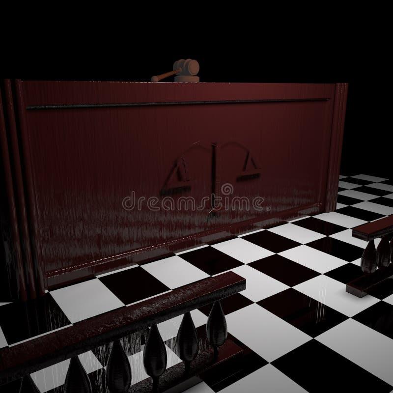 Δικαστήριο με gavel δικαστών απεικόνιση αποθεμάτων