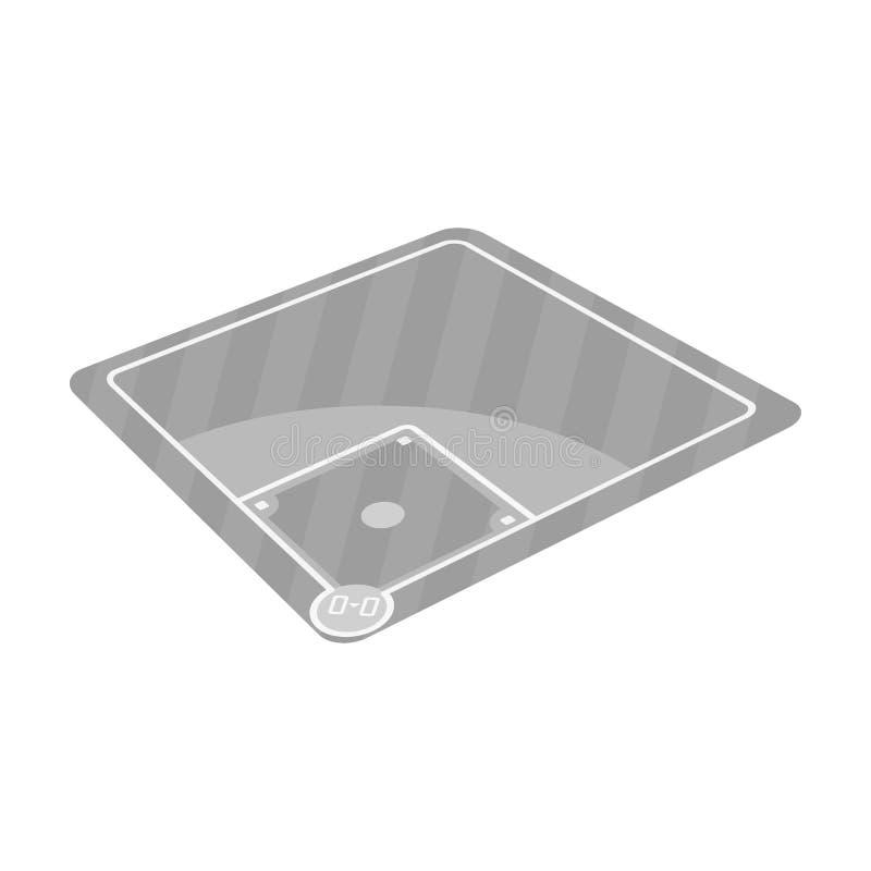 Δικαστήριο μπέιζ-μπώλ Ενιαίο εικονίδιο μπέιζ-μπώλ στο μονοχρωματικό Ιστό απεικόνισης αποθεμάτων συμβόλων ύφους διανυσματικό ελεύθερη απεικόνιση δικαιώματος