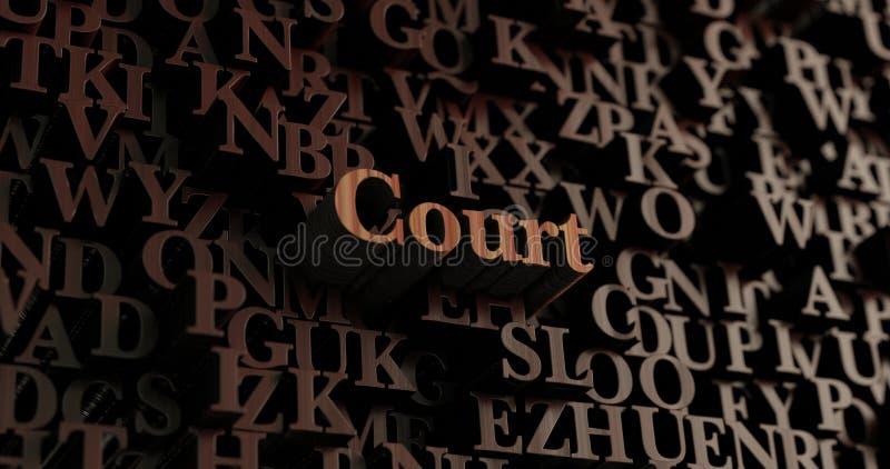 Δικαστήριο - ξύλινες τρισδιάστατες επιστολές/μήνυμα ελεύθερη απεικόνιση δικαιώματος