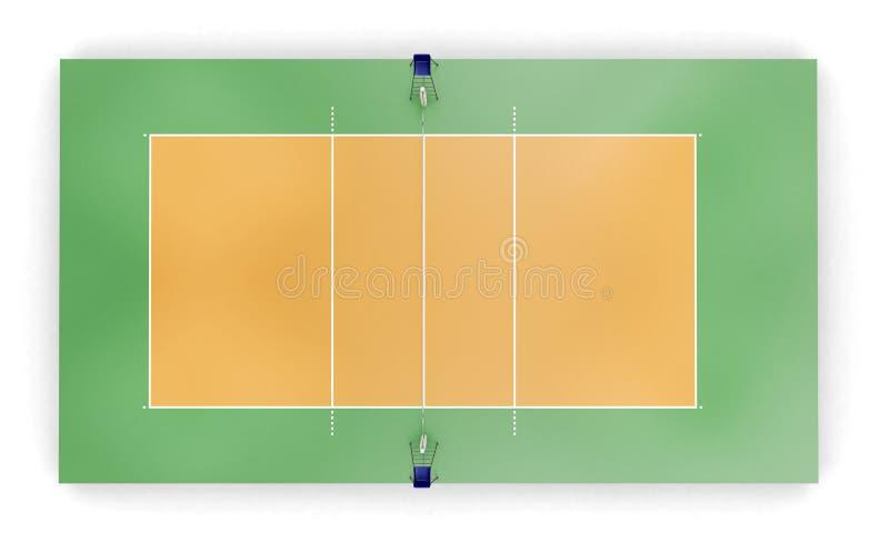 Δικαστήριο πετοσφαίρισης ή τοπ άποψη τομέων διανυσματική απεικόνιση