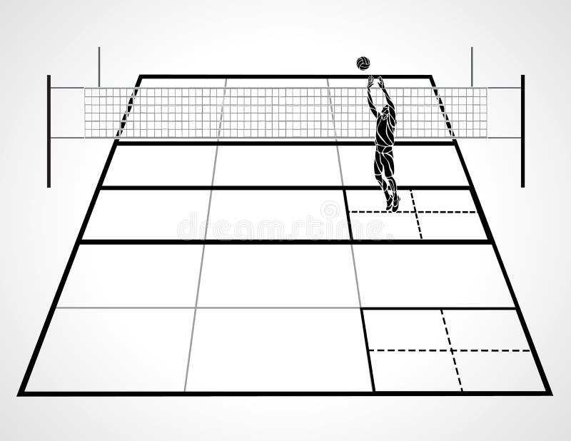 Δικαστήριο πετοσφαίρισης με την προοπτική, φορέας ρυθμιστών και σφαίρα, διάνυσμα απεικόνιση αποθεμάτων